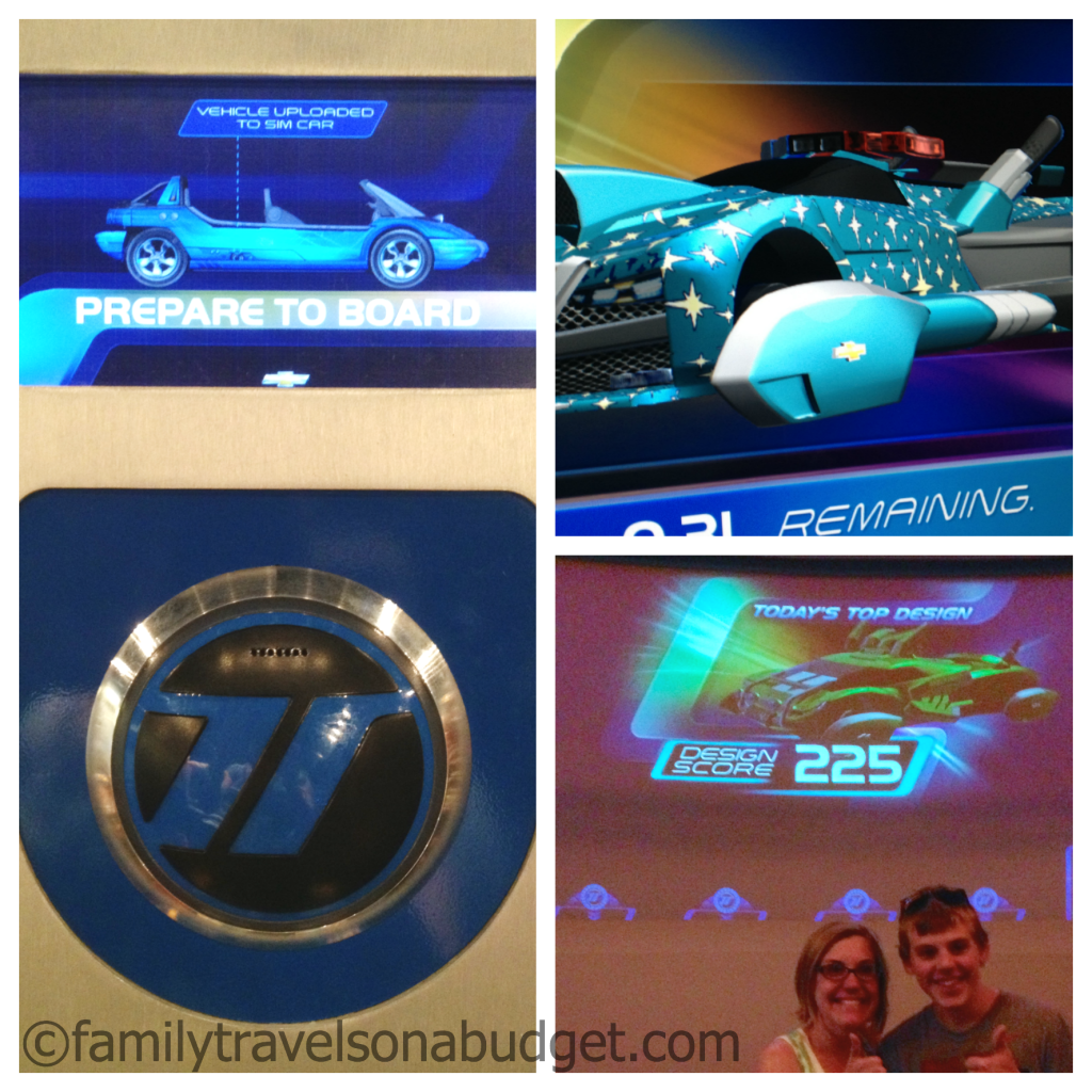 Left side: loading station to enter your vehicle data into the car's computer. Right top: one of our car designs. Bottom right: Ben and I made high score at Epcot's Test Track for the whole day!