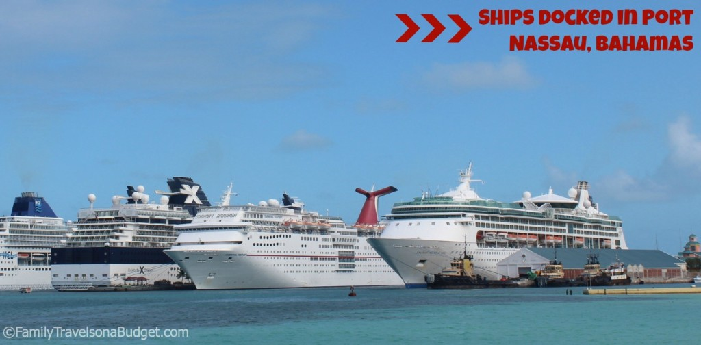 Ships docked in Nassau, Bahamas. Easy on - easy off.