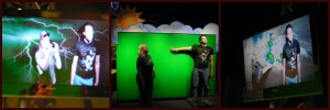 The green screen and computers allow visitors to pretend to be weather forecasters. I think we did a pretty good job!