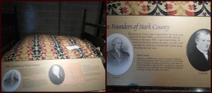"There's plenty to see and learn about at the Stark County Story exhibit. Check out this old bed and the ""founders of Stark County"" plaque!"