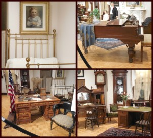 Some of the pieces featured in the McKinley Gallery Collection. Top left is a photo of the McKinleys' daughter, who died when she was young.