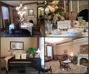 Top images: the Saxton dining room and McKinley China. Bottom: the parlor.