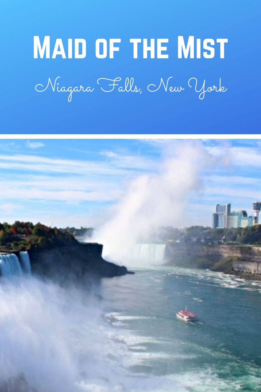 Maid of the Mist at Niagara Falls is a must do for families. A leisurely boat ride takes you close to the falls, where you're sure to get wet! It's an amazing adventure! #niagarafallsmaidofthemist #maidofthemist #niagarafalls #niagarafallsnewyork #thingstodoinniagarafalls #thingstodoniagarafalls #niagarafallswithkids #niagarafallsusa #niagarafallsvacation #niagarafallsusside