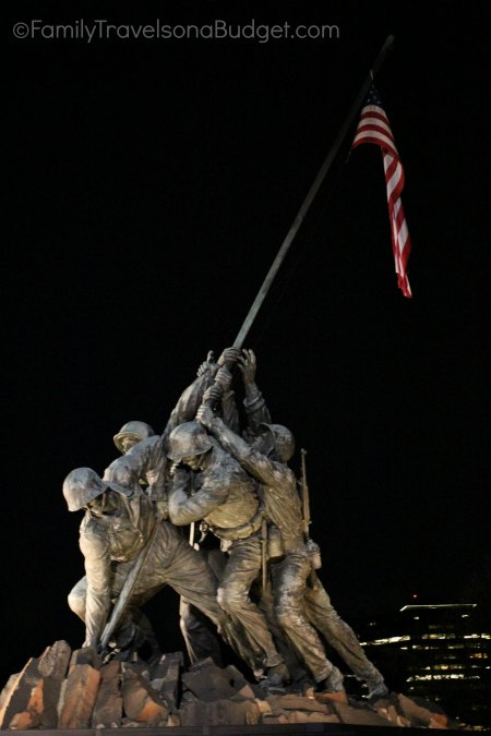 Iwo Jima memorial in DC after dark