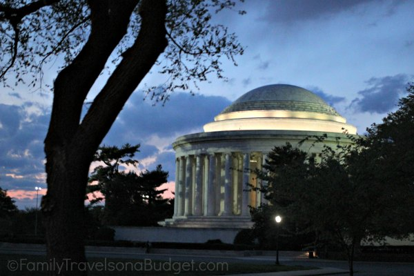 The indigo blue sky behind the Jefferson Memorial makes it stand out even more in DC after dark