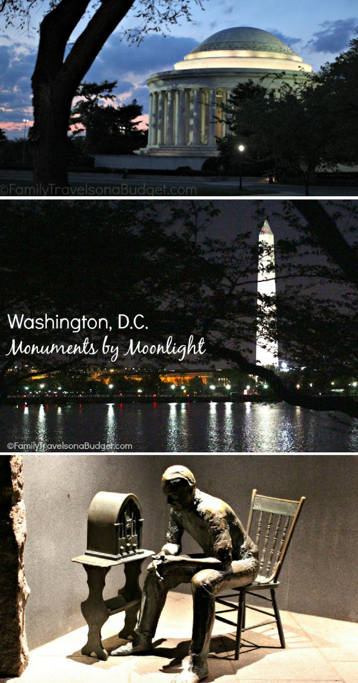 Jefferson Memorial, Washington Memorial and FDR Memorial as seen at night
