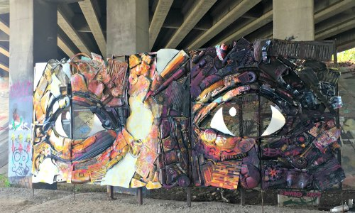 Made with garbage found on the Atlanta Beltline -- an antidote to graffiti