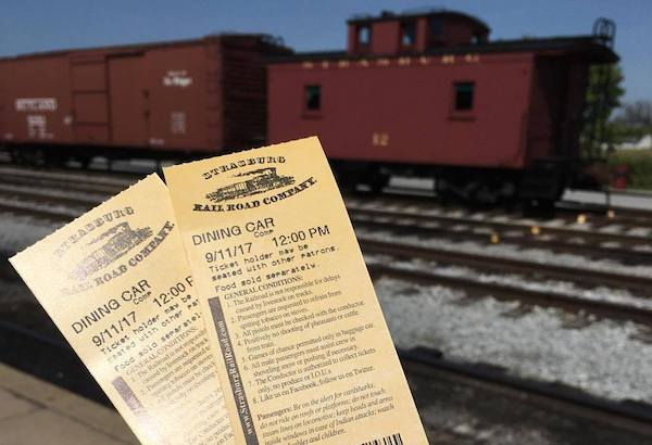 Enjoy lunch on the Strasburg Railroad dining car.