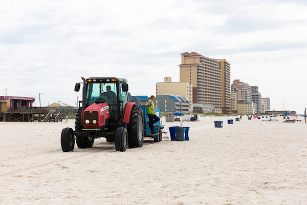 Beach patrols cleaning up at the end of the day