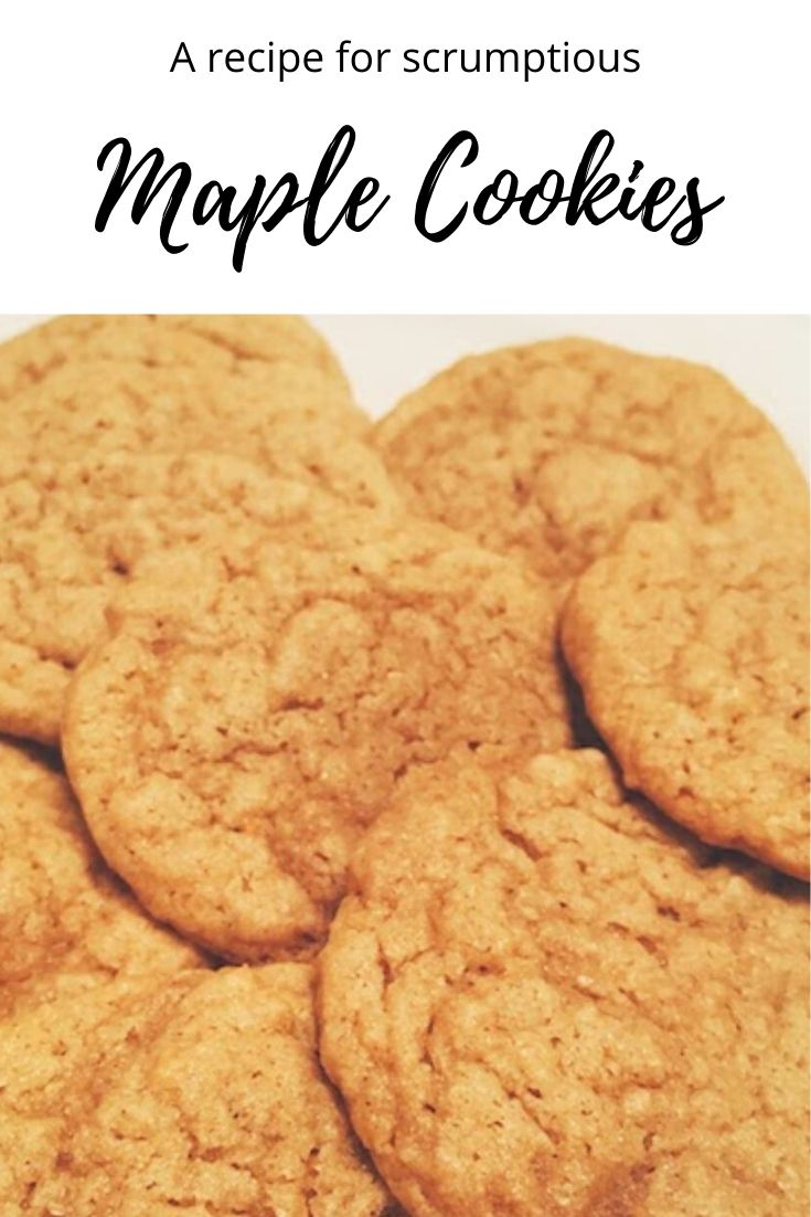 Sweet, chewy maple cookies use maple syrup instead of regular sugar for a healthier bite. But, we won't tell if you don't! Super yummy, easy recipe. #easysugarcookies #sugarcookies #maplecookies #maplesyrup #maplecookierecipe #maplesyruprecipes #thanksgivingdesserts #christmascookies