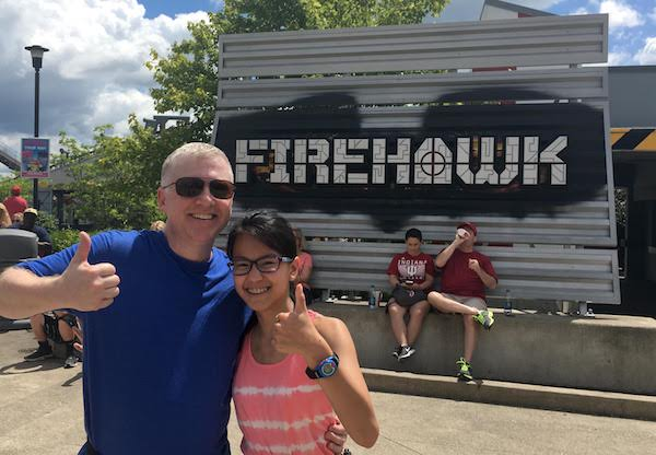 After riding Firehawk, Ellie and Rob were all smiles