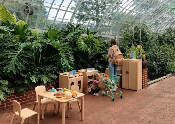 Children's spaces at Phipps gardens with play kitchen and farmers market