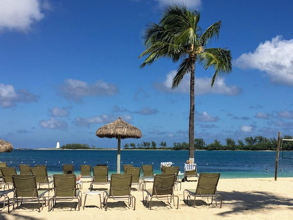 Hilton British Colonial private beach near the Nassau harbour.