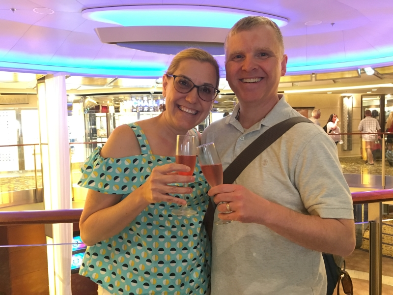 Welcome champagne on the Celebrity Equinox