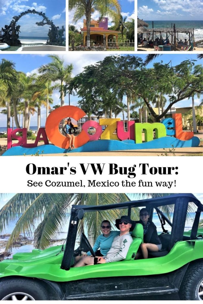 Photo collage of the things you'll see on Omar's VW Bug Tour of Cozumel