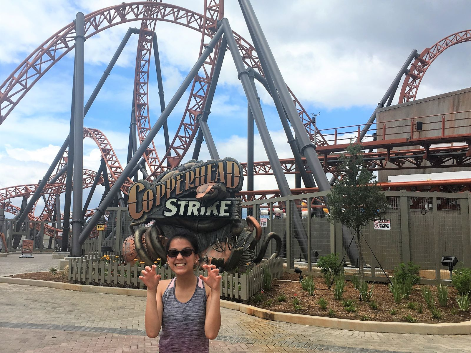 Ellie after riding Copperhead Strike, the newest roller coaster in the Carolinas