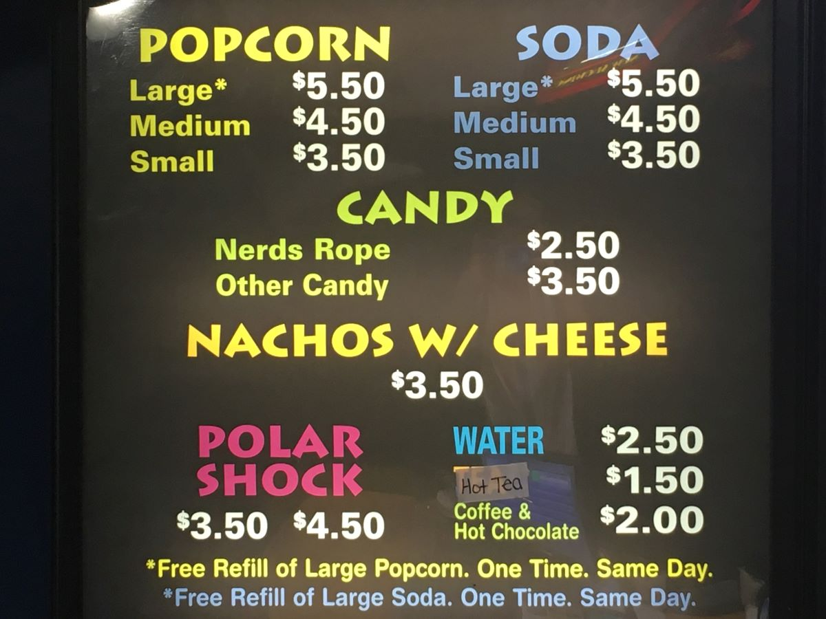 Movie theater snack menu at the Dieterich Theater