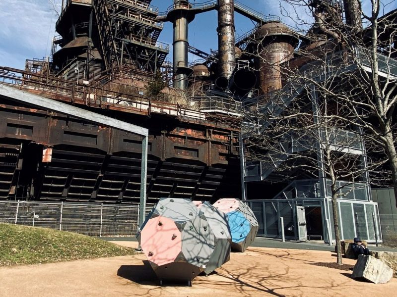 Children's play area in the shadow of the SteelStacks historic site and entertainment venue.