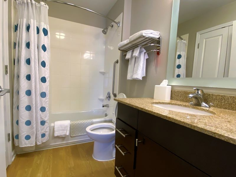 Bathroom at TownePlace Suites in Fayetteville Hotels in Cross Creek