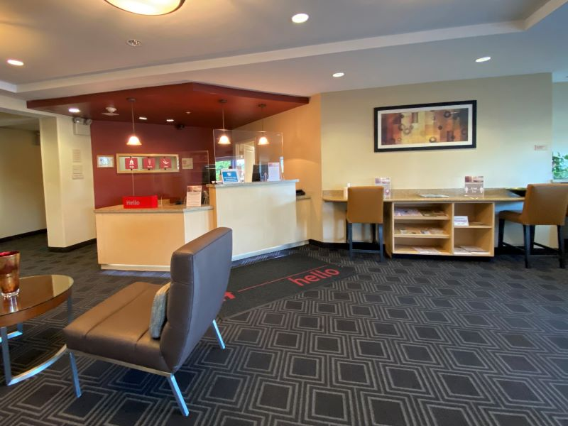 TownePlace Suites Lobby -- one of the Fayetteville hotels close to the Interstate that offers suites with kitchens and is pet friendly.