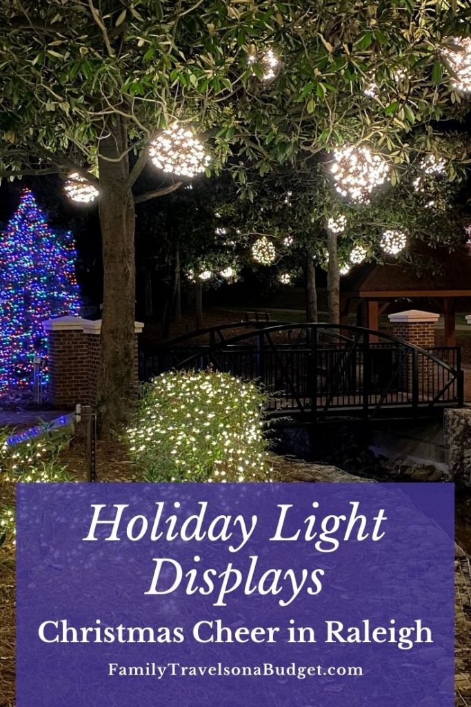 Christmas tree and holiday lights with title text Holiday Light Displays in Raleigh, NC