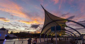 Tampa Riverwalk at sunset