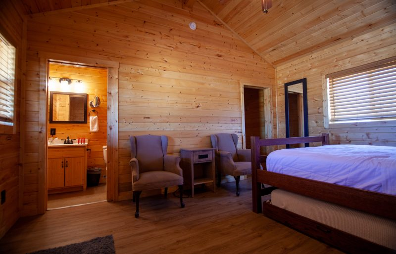 Interior view of the Hualapai cabins at Grand Canyon West. The rustic cabins offer comfort and space, but not TV or cable. Wifi is available.
