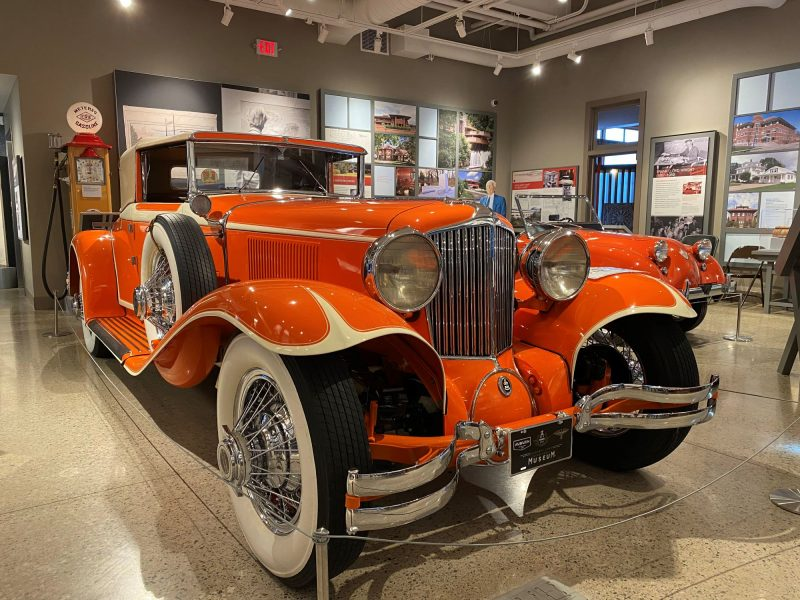 Entrance to the permanent Frank Lloyd Wright exhibit at Hagen History Center includes this flashy, orange car -- like his in the 1930s