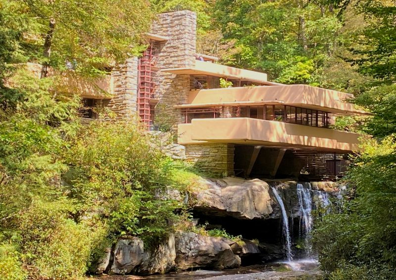 Fallingwater in Pennsylvania, built by Frank Lloyd Wright for the Kauffmans of Pittsburgh, PA