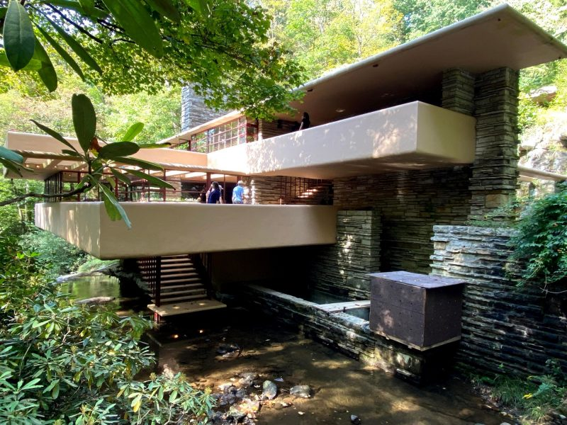 The approach to Fallingwater, just a glimpse of what's to come when touring Frank Lloyd Wright houses in PA