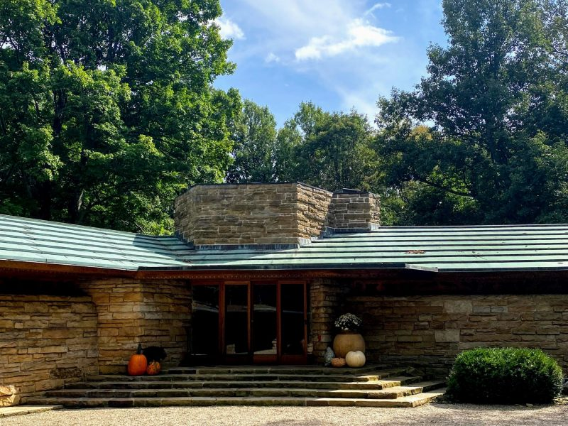 Front entrance at Kentuck Knob, one of Frank Lloyd Wright houses in PA